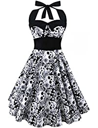 Womens Sleeveless Vintage Hepburn Style Skull Print Flare Skater Dress