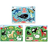 Melissa & Doug Peg Puzzle Bundle - Farm Animals, Pets and Sea Creatures
