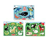Melissa & Doug Animals Wooden Peg Puzzles Set - Farm, Pets, and Ocean