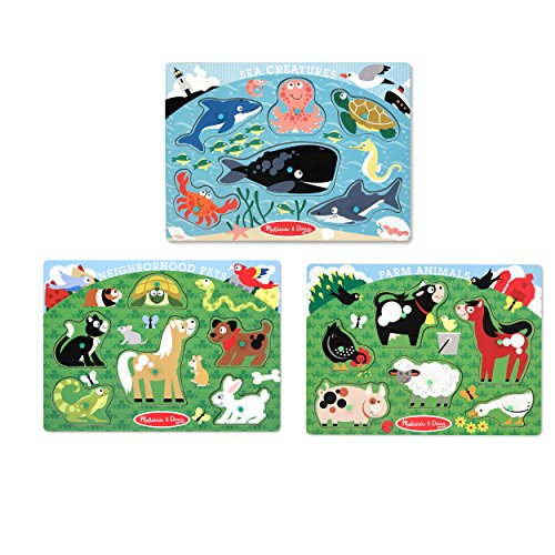 Doug Pets Peg Puzzle - Melissa & Doug Animals Wooden Peg Puzzles Set - Farm, Pets, and Ocean
