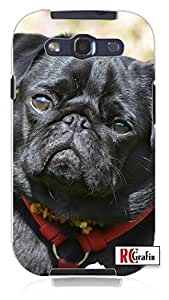 Adorable Black Pug Dog Direct Print (not a sticker) Unique Quality Hard Snap On Case for Samsung Galaxy S4 I9500 - White Case