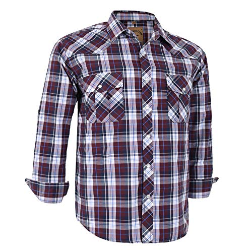 - Coevals Club Men's Long Sleeve Casual Western Plaid Snap Buttons Shirt (S, 25# Brown Plaid)