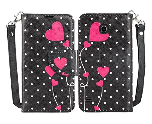 Huawei Union Y538 Case - Wydan (TM) Hybrid Credit Card Wallet Flip Book Style Case Cover - Polka Dot Heart