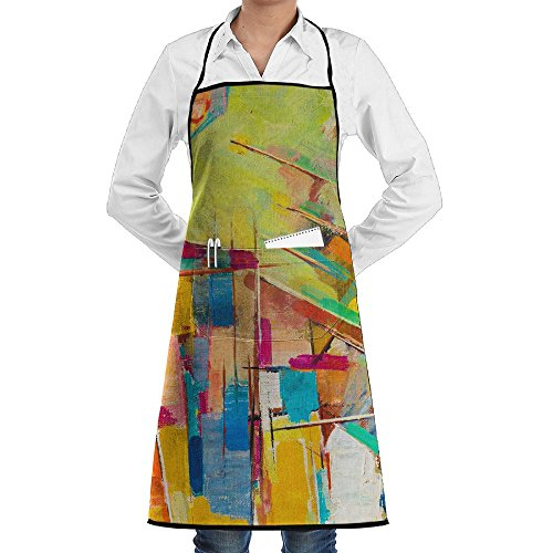 SmallTing Abstract Colorful Oil Painting On Canvas Durable Cotton Kitchen Black One Size Apron With Pockets Adjustable ()