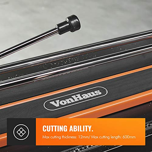 VonHaus Manual Tile Cutter 600mm - Tungsten Carbide Scoring Wheel - Straight Edge Accurate Measurement Guide - Cuts Ceramic, Glazed Floor & Wall Tiles