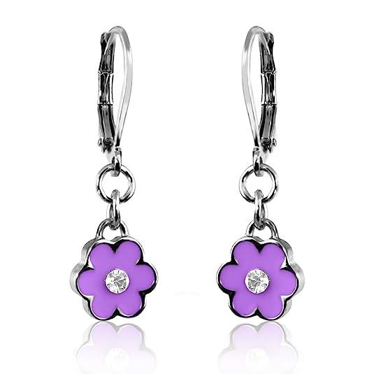 Girls Enamel Flower & Crystal Earrings Rhodium Plated Dangle Earrings Fashion Jewelry for Girls