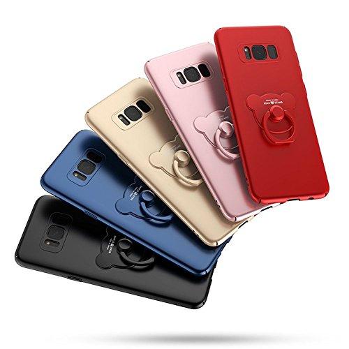 Carcasa Samsung Galaxy Note 8, Samsung Galaxy Note 8 Funda Silicona, EUWLY Ultrafina Original Cáscara del Teléfono Móvil PC Silicona Funda con Soporte Oso Anillo Protectora Parachoques Trasero Cubiert Oso Anillo,Negro