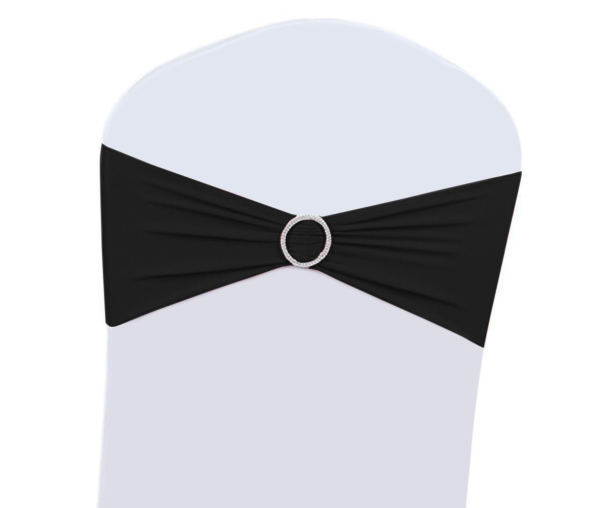 100PCS Wedding Chair Decorations Stretch Chair Bows and Sashes for Party Ceremony Reception Banquet Spandex Chair Covers slipcovers (100, Black)