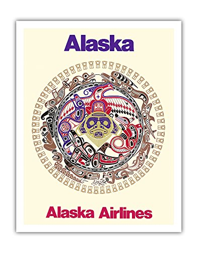 Power of the Shining Heavens - Northwest Coast Haida Indian Tribal Art - Alaska Airlines - Vintage Airline Travel Poster by Barry Harem c.1978 - Fine Art Print - 11in x 14in ()