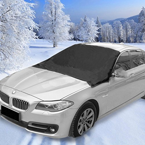 Windshield Snow Cover, Magnetic Edges SUV Car Snow Cover Snow Ice Frost Auto Cover, No More Scraping - Door Flaps Windproof Fit for Cars Trucks Vans and SUVs