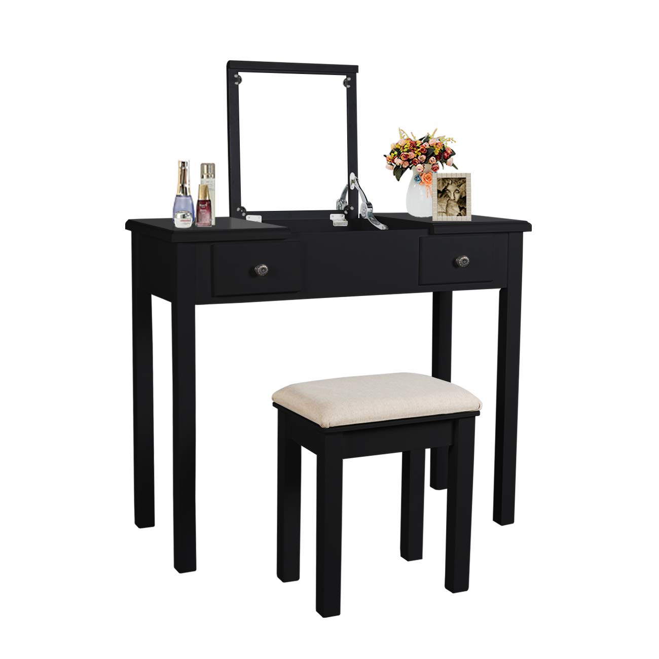 Vanity Set with Flip Top Mirror Makeup Dressing Table Removable Makeup Table Organization Writing Desk with 2 Drawers 3 Dividers Organizers Cushioned (Black) by AILEEKISS