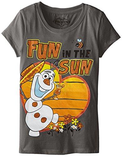 Hybrid Big Girls' Frozen Olaf Fun In The Sun Tee, Ash, Small