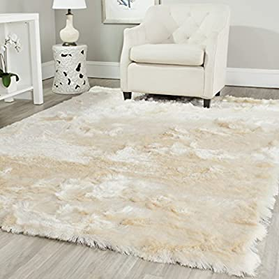 Safavieh Paris Shag Collection SG511-1212 Ivory Polyester Area Rug (3' x 5') - Safavieh's Silken Paris Shag with 800+ customer reviews Silky soft fibers provide this shag with a luxurious Hollywood Glam feel Expertly handmade in posh, alluring color tones that work well with contemporary chic décor - living-room-soft-furnishings, living-room, area-rugs - 51kU5HRrhRL. SS400  -