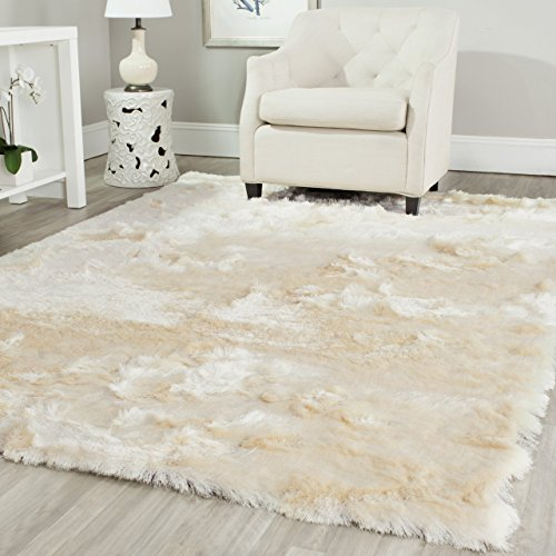 Safavieh Paris Shag Collection SG511-1212 Ivory Polyester Area Rug (5' x 7') from Safavieh