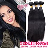Pamina Hair Unprocessed Virgin Brazilian Silky Straight Human Hair Weave Extensions 3 Bundles Set 100 Gram/Piece Mixed Length Soft Weft (18 20 22)