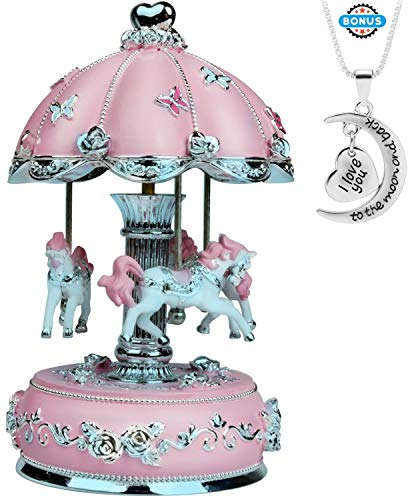 J JHOUSELIFESTYLE Upgraded Carousel Music Box, Carousel Horse Rotate as Music Plays, Great Merry Go Round Music Boxes for Girls Granddaughters Daughter Birthday Christmas Valentine (Pink-2020, Large)