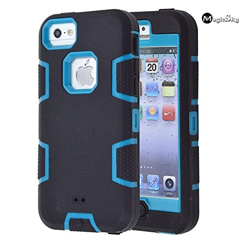 5C Case, iPhone 5C Case Cover, Magicsky Full Body Hybrid Impact Shockproof Defender Case Cover for Apple iPhone 5C, 1 Pack (C Teal/Black)