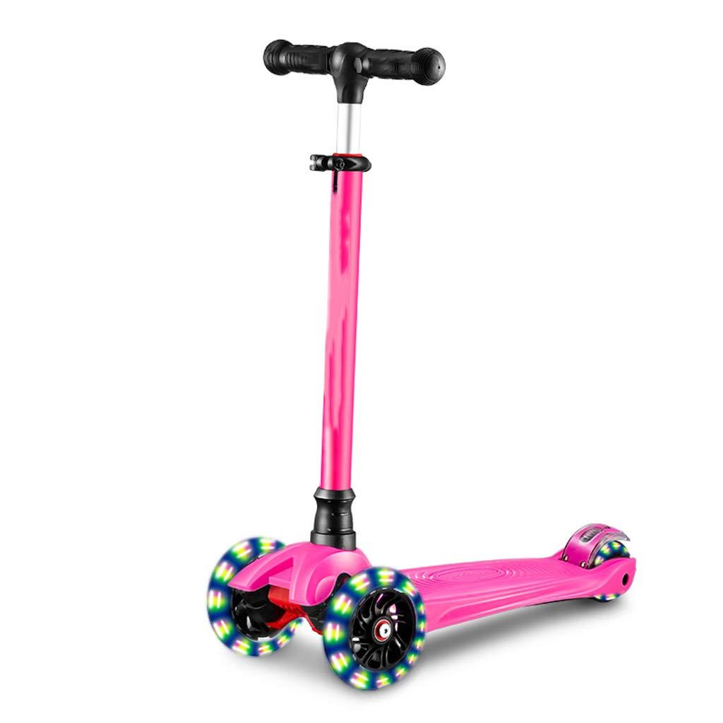 子供のスクーター片足の女の子のスライドの車のスクーター三輪フラッシュ3-6-12歳 LCSHAN (Color : ピンク) ピンク