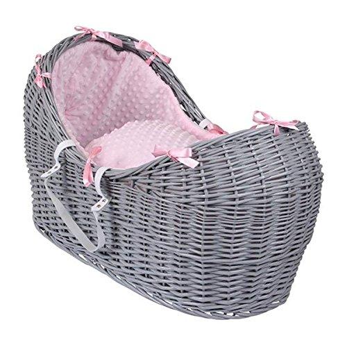 Clair de Lune Dimple Grey Noah Pod Wicker Moses Basket, Pink