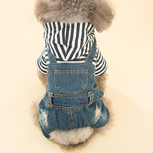 [Q@QQ Pet dog striped hat cowboy strap trousers four feet thick clothes fall and winter clothes , xl] (Target Cowboy Dog Costume)