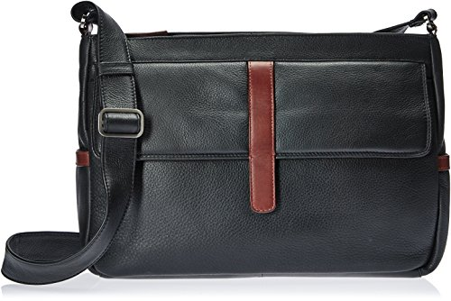 Pkt Flap - Derek Alexander East/West Twin Top Zip External Frnt Flap Pkt, Black/Brandy