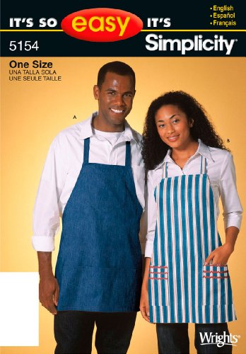 Misses Pattern Aprons (Simplicity Sewing Pattern 5154 It's So Easy Miss/Men Aprons, One Size)