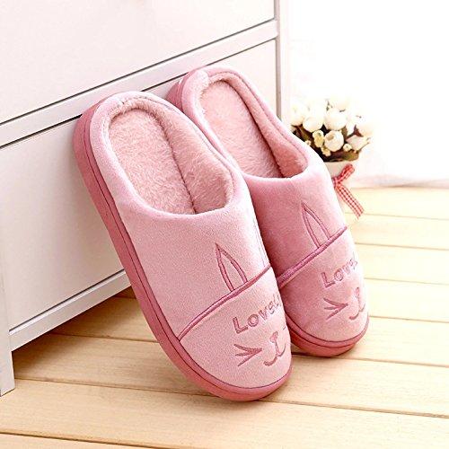 de vino interior DogHaccd de felpa El de invierno la de gruesos femenina zapatillas algodón home Cálido y color rojo2 es encantador de mitad zapatillas Zapatillas par antideslizante qqr8wB7