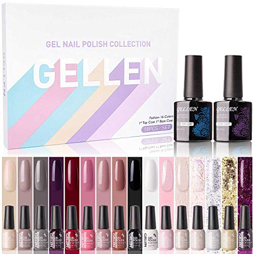 Gellen Gel Nail Polish Kit 16 Colors With Top Coat Base Coat - Popular Nude Dark Shade Winter Colors Collection