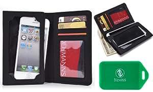 HTC myTouch 4G (T-Mobile) Black Universal *Bi-Fold series*wallet phone case