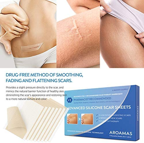 """Aroamas Professional Silicone Scar Sheets, Soften and Flattens Scars Resulting from Surgery, Injury, Burns, Acne, C-section and more, Soft Silicone Scar Strips, 3""""×1.57"""", 8 Sheets (4 Month Supply)"""