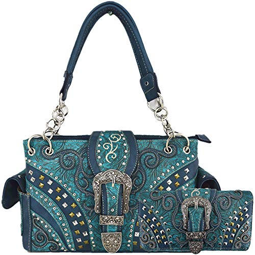 (Western Style Tooled Leather Buckle Concealed Carry Purse Country Handbag Women Shoulder Bag Wallet Set (#3 Turquoise Set))