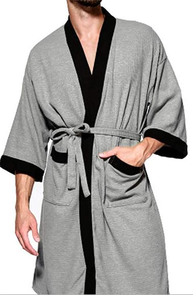 Lutratocro Men Contrast Color Loose Sleep Pocket Waffle Bathing Belt Sleep Bathrobe