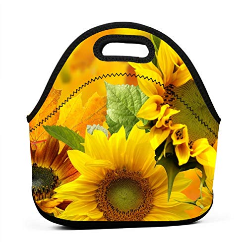 Yellow Sunflower Lunch Box Storage Bag Container for Men & Women Boys & Girls, Work/School/Meal Prep Lunch Organizer Neoprene Totebag Quick And Simple Organization