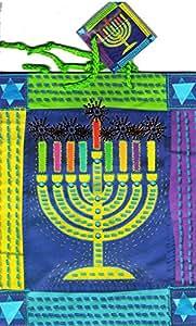 Chanukah Gift Party Favor Bags Holiday Colorfull Menorah Design -Happy Hanukkah Paper Bags