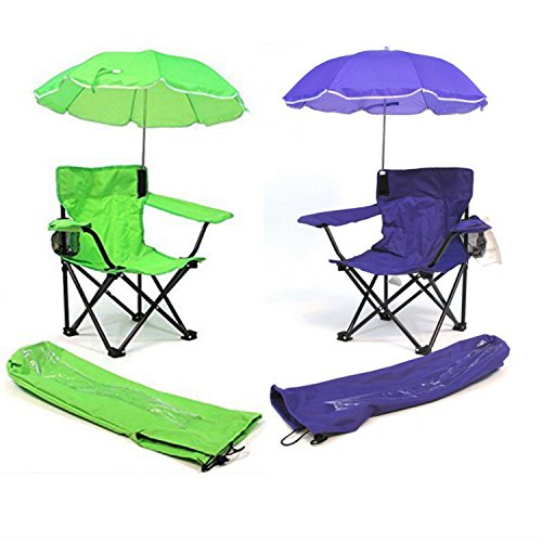 (Redmon for Kids Beach Baby Kids Umbrella Camp Chair (Combo of Green and Hot Purple))