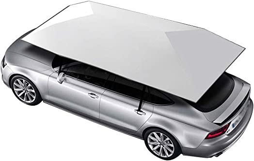 Belltower Movable Car Tent,Semi-Automatic Portable Carport Folded Automobile Protection Canopy with Sun Shade Anti-UV, Water-Proof, Snow Wind Proof Manual