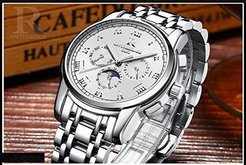 Mens Japanese Automatic Movement Watches,Stainless Steel Waterproof Wrist Watch