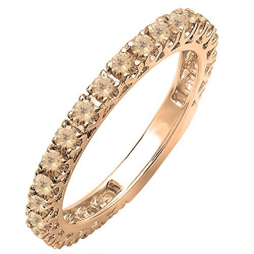 Dazzlingrock Collection 0.90 Carat (ctw) 10K Round Champagne Diamond Eternity Sizeable Wedding Band, Rose Gold, Size 8.5