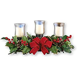 Collections Etc Holly Christmas Centerpiece w/Candle Holders