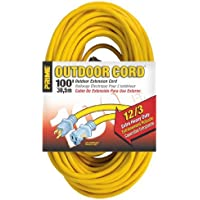 Prime Wire & Cable EC511835 100-Foot 12/3 SJTW Jobsite Outdoor Extension Cord with Prime light Indicator Light, Yellow by Prime Wire & Cable