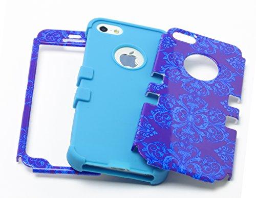 Bastex Heavy Duty Hybrid Case für Apple iPhone 5, 5S, 5 g, Blaugrün, weiches Silikon, umgeben von, blau, Damast, Antik-Design, Hartschale