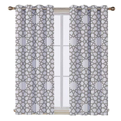 Islamic Antique (SATVSHOP Patterned Drape for Glass Door - 72W x 108L Inch- Waterproof Window Curtain.House Arab que Star Pattern Antique Islamic Architecture Ative Elements Traditional ation Grey.)