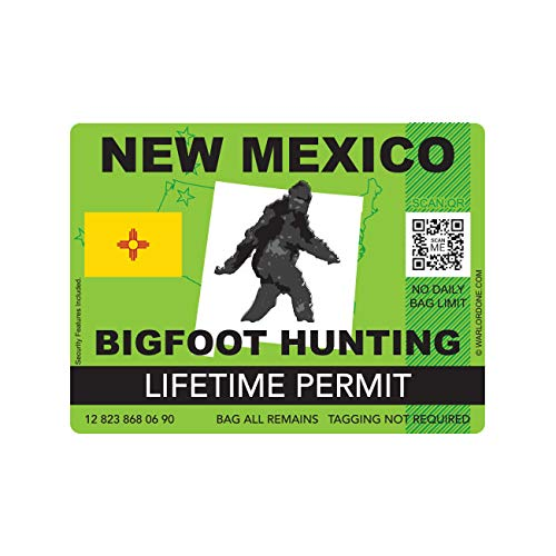 fagraphix New Mexico Bigfoot Hunting Permit Sticker Die Cut Decal Sasquatch Lifetime FA Vinyl - 4.00 Wide