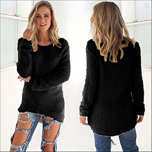 Manches Rovinci d'hiver Manches Blouse Longues lgant Rond Femmes Casual Les Pull Noir1 Longues Warmer Col Solides Pull wppERUqzWB