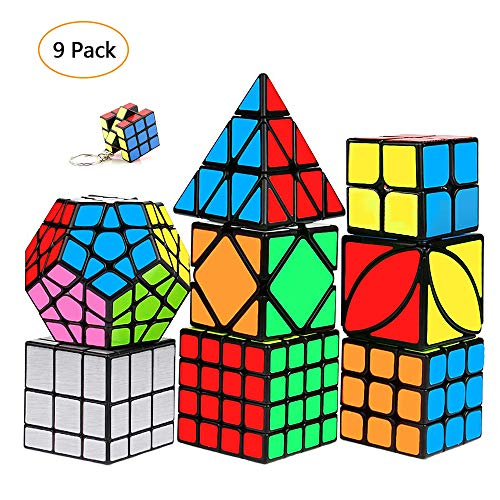 Speed Cubes Set 9 Pack Kids 3D Puzzle Toys Smooth Magic Cube 2x2 3x3 4x4 Pyramid Megaminx Skewb lvy Mirror Cube with Free Keychain Cube