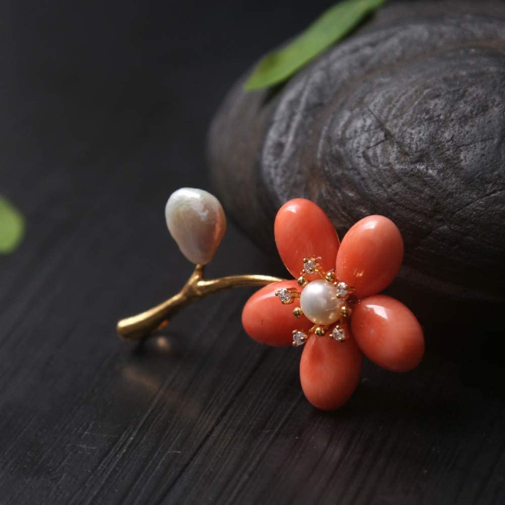 THTHT Brooch Pendant Dual-Use Female Accessories Natural Pearl Coral Flower Fashion Brooch Light Luxury Retro Noble and Exquisite Creative Gifts