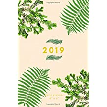 """2019 Daily Planner 4"""" x 6"""": Small Mini Ferns Calendar To Fit Purse & Pocket; Portable Monthly & Weekly Goals Journal With Quotes & Address Book; Includes US & UK Holidays; Dates From Jan - Dec 2019"""