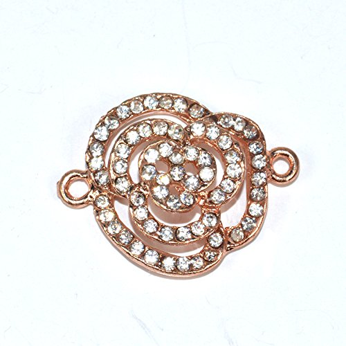 Flower Rhinestone Bead Charm - DongStar Fashion Jewelry, Cooper Paved Connector Bead Rhinestone Crystal Beautiful Rose Flower Bracelet Charm Collection Designed for Handmade Bracelet, Pack of 8 (Rose Gold)