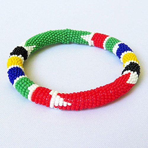 African Zulu beaded round bracelet - South African flag multicolour - Art Glass Bead Bracelet