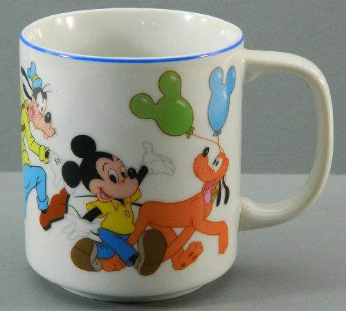 (Disneyland Disney World Coffee Mug Cup Mickey Mouse Minnie Goofy Pluto Donald Duck Japan Vintage)